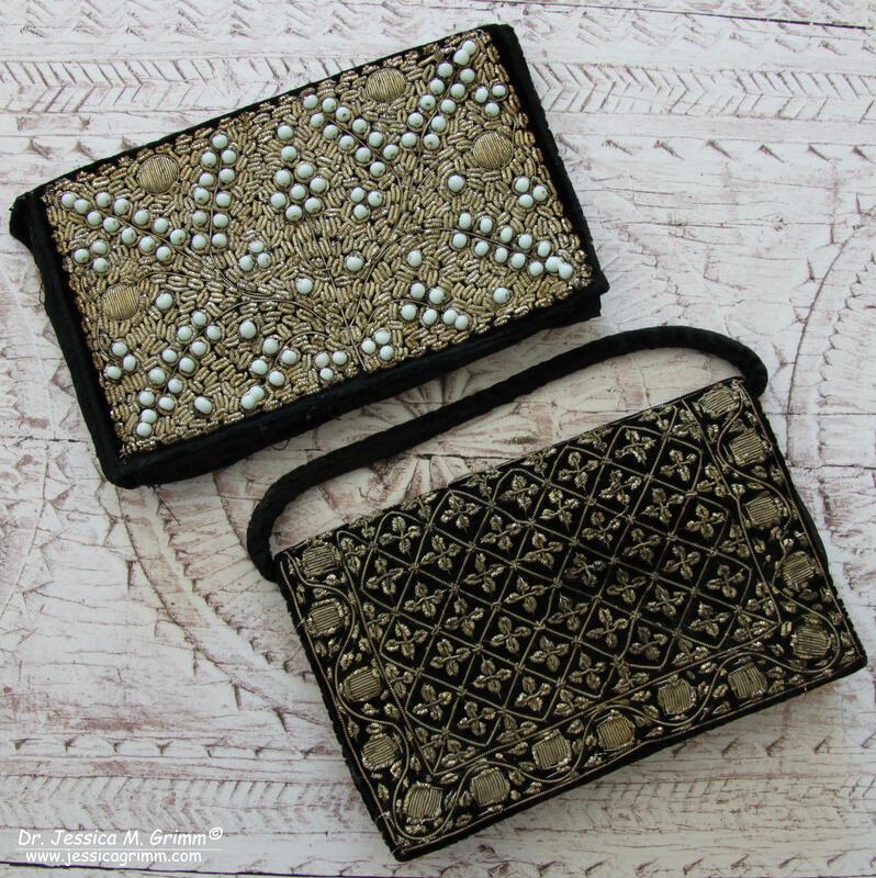Little black clutch with goldwork embroidery