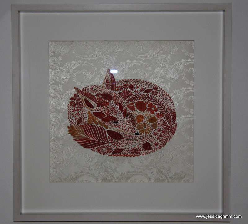 Millie Marotta's fox embroidered by Jessica Grimm