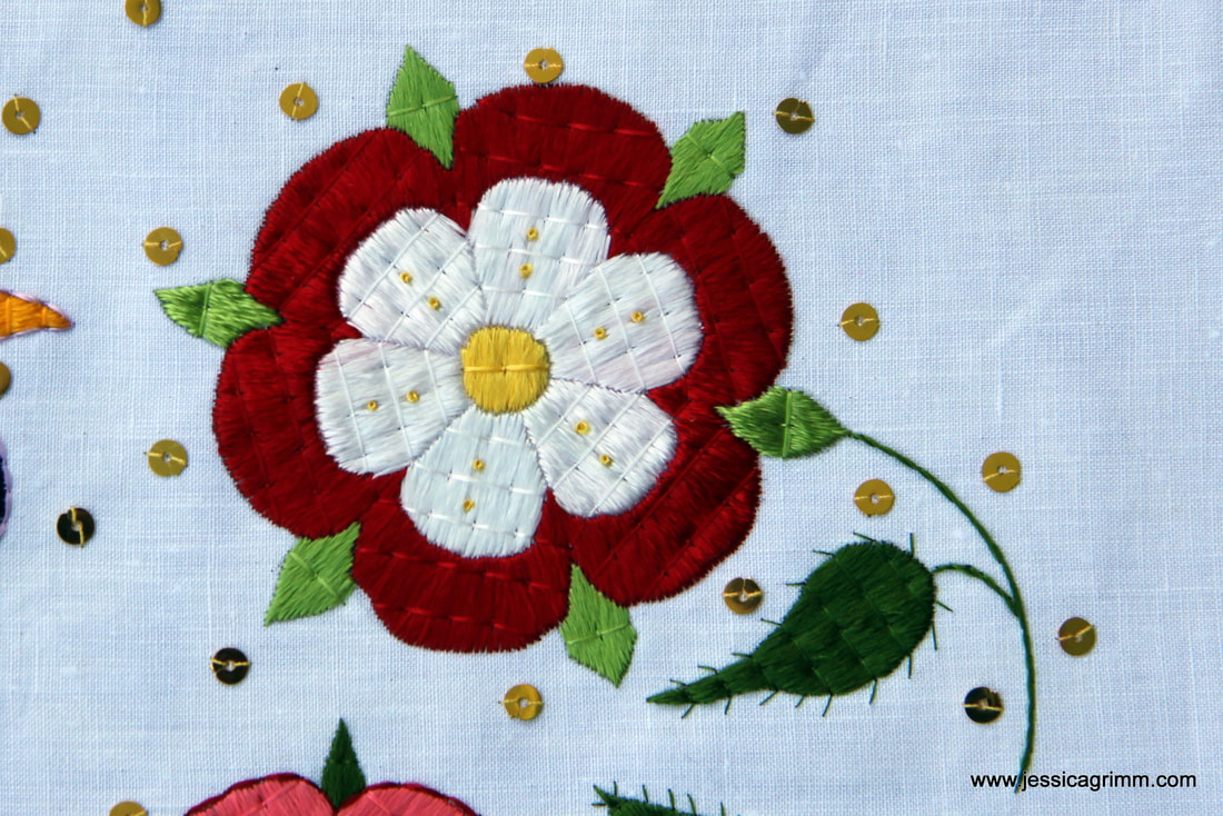 Tudor Rose embroidered linen vestments from Tyrol