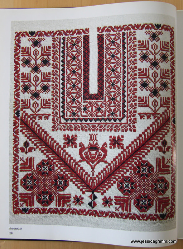 Pattern for the front of the traditional Thob from Ramallah