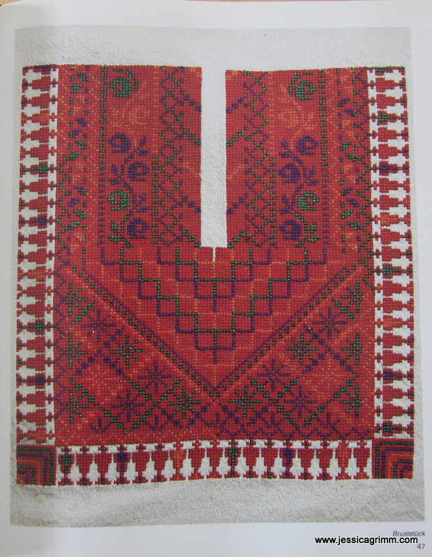 Pattern for the front of the traditional Thob from Jaffa