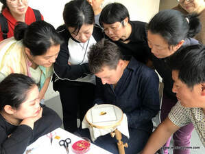 Jessica Grimm teaching embroidery at the National Silk Museum Hangzhou China